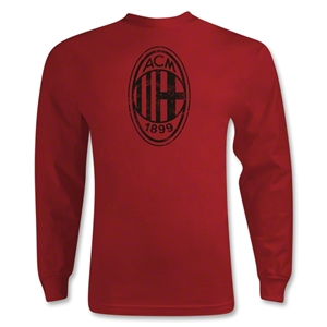 AC Milan Distressed Logo LS T-Shirt (Red)