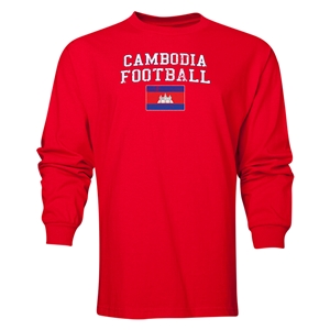Cambodia LS Football T-Shirt (Red)