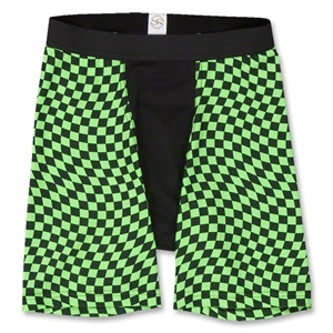 Men's Green Checkers Compression Short-7 inseam (Gr/Blk)