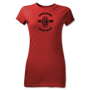 AC Milan Distressed Junior Women's T-Shirt (Red)