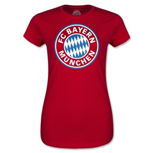 Bayern Munich Logo Junior Women's T-Shirt (Red)