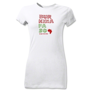 Burkina Faso Junior Women's Country T-Shirt (White)