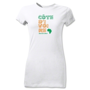 Cote d'Ivoire Junior Women's Country T-Shirt (White)
