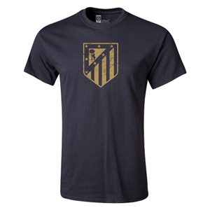 Atletico Madrid Distressed Crest Youth T-Shirt (Black)