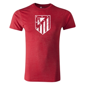 Atletico Madrid Distressed Crest Men's Fashion T-Shirt (Heather Red)