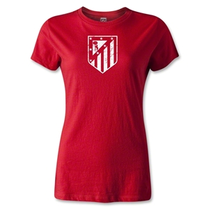 Atletico Madrid Distressed Crest Women's T-Shirt (Red)