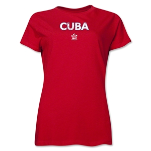 Cuba CONCACAF Distressed Women's T-Shirt (Red)