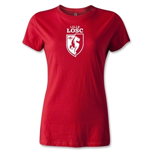 LOSC Lille Distressed Crest Women's T-Shirt (Red)