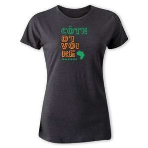 Cote d'Ivoire Women's Country T-Shirt (Dark Gray)