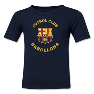 Barcelona Futbol Club Distressed Kids T-Shirt (Navy)