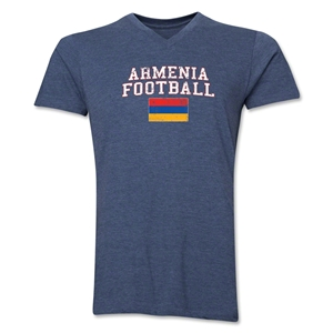 Armenia Football V-Neck T-Shirt (Heather Navy)