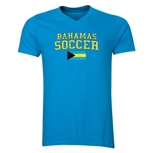Bahamas Soccer V-Neck T-Shirt (Heather Turquoise)