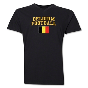 Belgium Football V-Neck T-Shirt (Black)