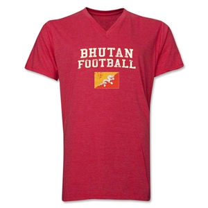 Bhutan Football V-Neck T-Shirt (Heather Red)