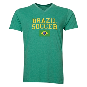 Brazil Soccer V-Neck T-Shirt (Heather Green)