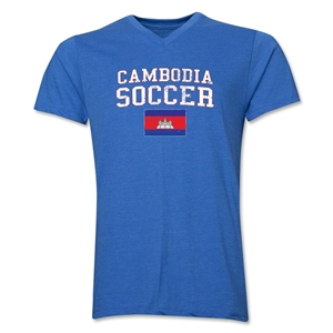 Cambodia Soccer V-Neck T-Shirt (Heather Royal)