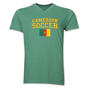 Cameroon Sooccer V-Neck T-Shirt (Heather Green)
