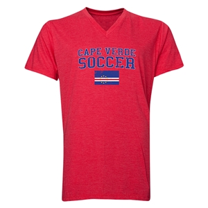 Cape Verde Soccer V-Neck T-Shirt (Heather Red)