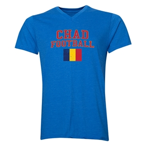 Chad Football V-Neck T-Shirt (Heather Royal)