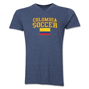 Colombia Soccer V-Neck T-Shirt (Heather Navy)