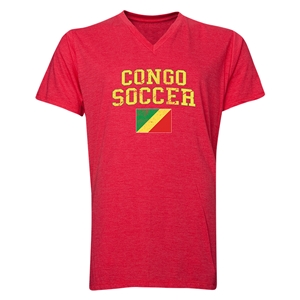 Congo Soccer V-Neck T-Shirt (Heather Red)