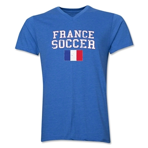France Soccer V-Neck T-Shirt (Heather Royal)