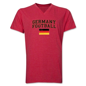 Germany Football V-Neck T-Shirt (Heather Red)