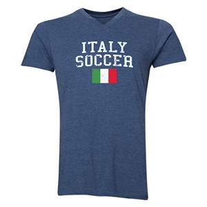 Italy Soccer V-Neck T-Shirt (Heather Navy)