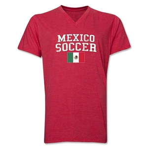 Mexico Soccer V-Neck T-Shirt (Heather Red)