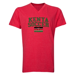 Kenya Soccer V-Neck T-Shirt (Heather Red)