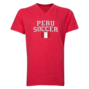 Peru Soccer V-Neck T-Shirt (Heather Red)