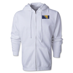 Bosnia-Herzegovina Flag Full Zip Hooded Fleece (White)