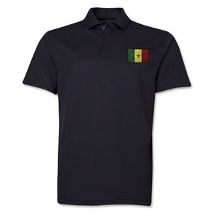Senegal Flag Soccer Polo (Black)