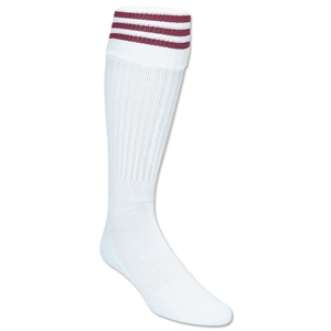 3 Stripe Padded Socks (White/Maroon)