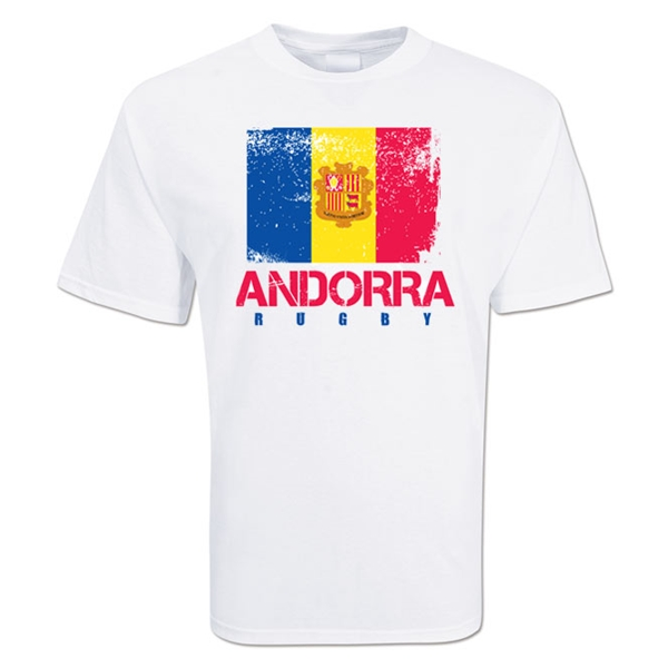 Andorra Country Rugby Flag T-Shirt