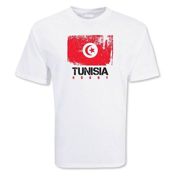 Tunisia Country Rugby Flag T-Shirt