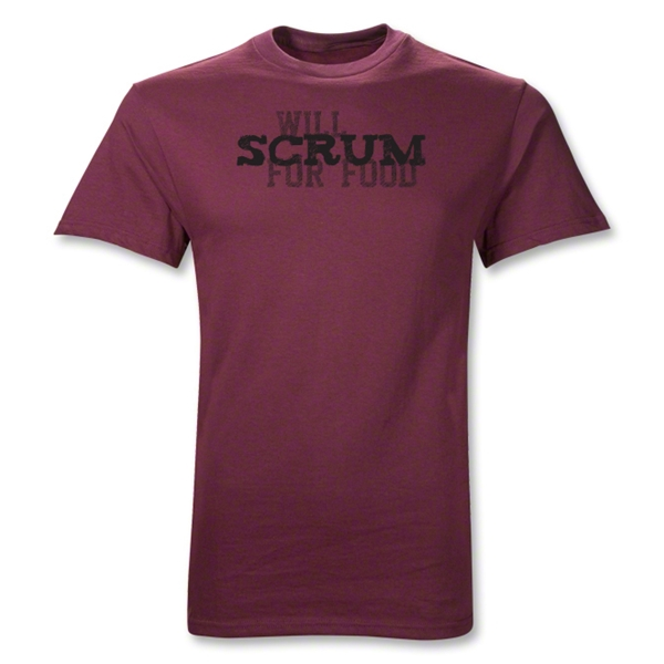 Will Scrum for Food T-Shirt (Maroon)