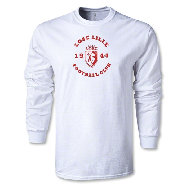 LOSC Lille Distressed Graphic LS T-Shirt (White)