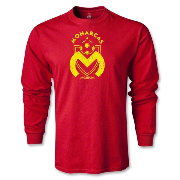 Morelia Monarcas Distressed Graphic LS T-Shirt (Red)