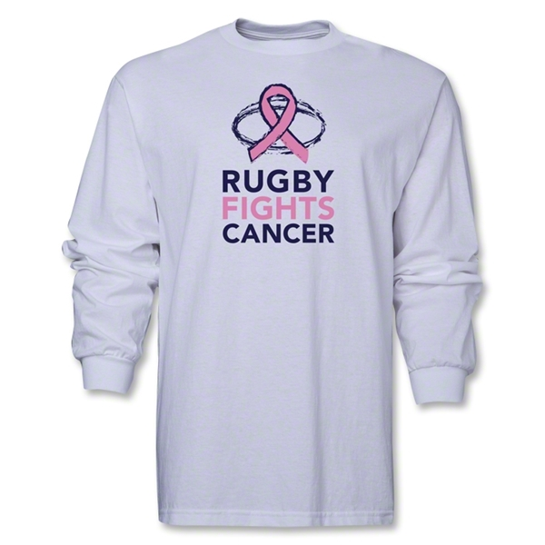 Rugby Fights Cancer Men's LS T-Shirt (White)