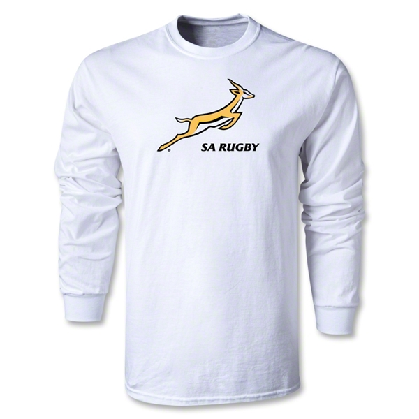 South Africa Springboks Bok Logo LS T-Shirt (White)