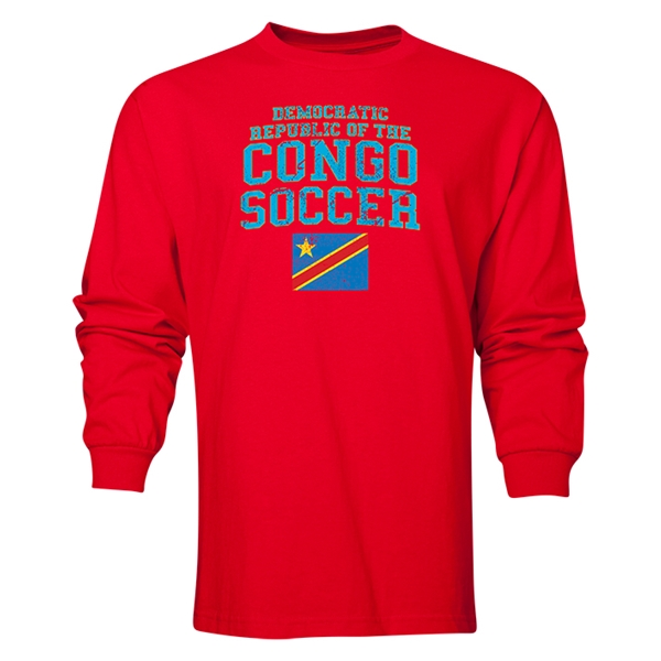 Congo DR LS Soccer T-Shirt (Red)