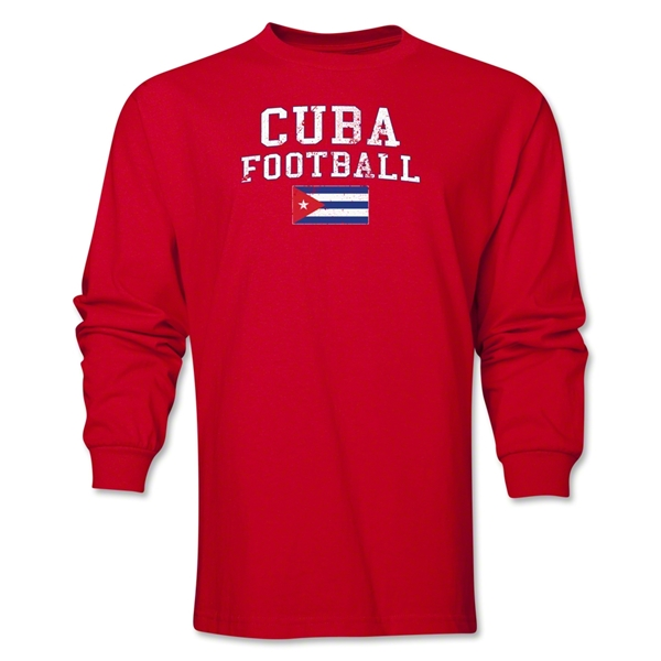 Cuba LS Football T-Shirt (Red)