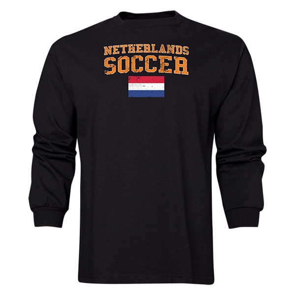 Netherlands LS Soccer T-Shirt (Black)