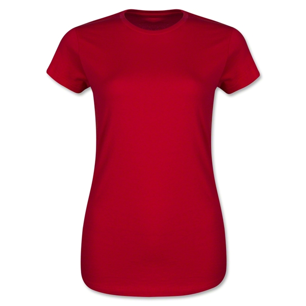 Junior Ladies 4.3 Oz Cotton T-Shirt (Red)