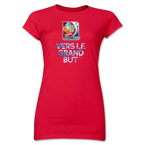 FIFA Women's World Cup Canada 2015(TM) Junior Women's French Slogan T-Shirt (Red)