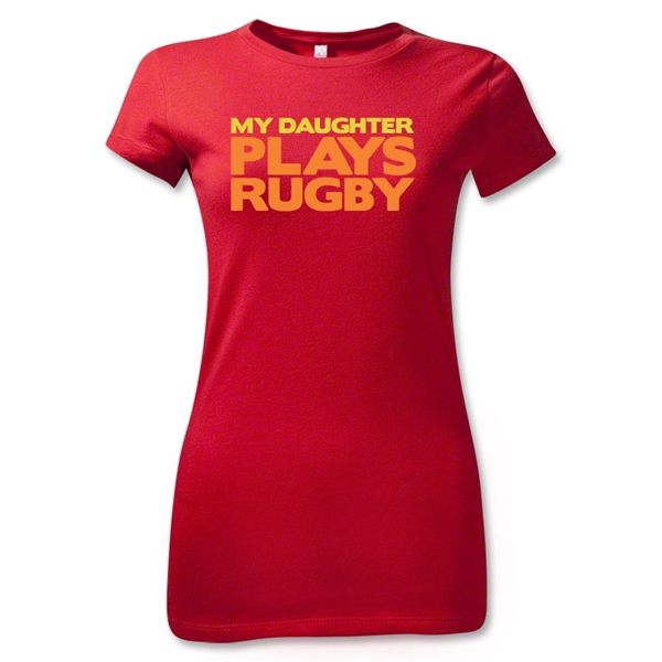 My Daughter Plays Rugby Junior Women's T-Shirt (Red)