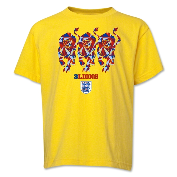England Three Lions Youth T-Shirt (Yellow)