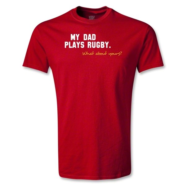 My Dad Plays Rugby Youth T-Shirt (Red)