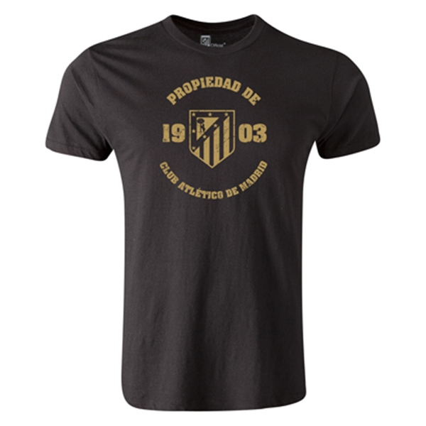 Atletico Madrid Distressed Property Men's Fashion T-Shirt (Black)